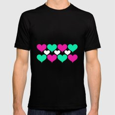 Happy hearts Black Mens Fitted Tee SMALL