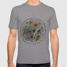 Succulents Mandala Mens Fitted Tee Athletic Grey SMALL