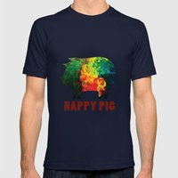 Happy pig Mens Fitted Tee Navy SMALL