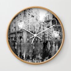 Summer space, smelting selves, simmer shimmers. 19, grayscale version Wall Clock