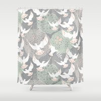 Doves And Flowers Shower Curtain