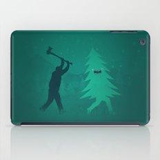 Funny Christmas Tree Hunted by lumberjack (Funny Humor) iPad Case