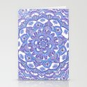Lilac Spring Mandala - floral doodle pattern in purple & white Stationery Cards