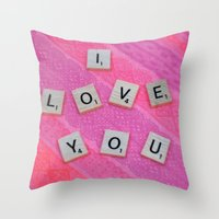 Darling I Love You In Pink Throw Pillow