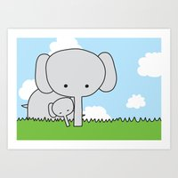 Mommy Elephant Art Print