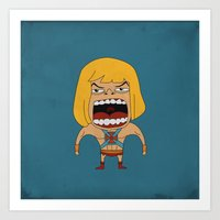 Art Print featuring Screaming He-Man by That Design Bastard