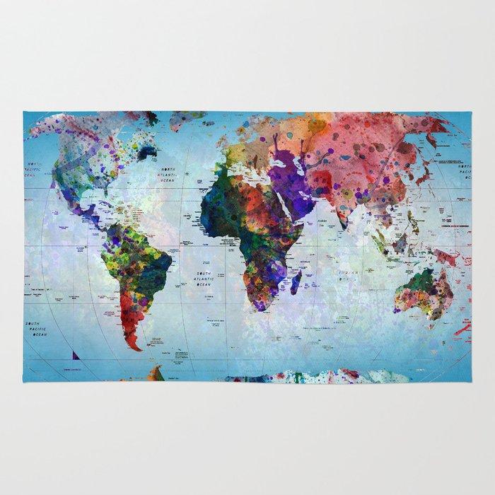 World Map Throw Rug: Map Rug By Mark Ashkenazi