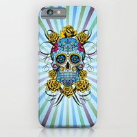 iPhone & iPod Case featuring Sugar skull- Day of the dead- blue by One Six Eight One