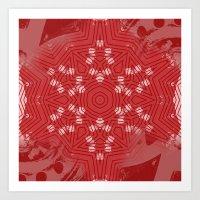 Red stripes on grunge pink mandala Art Print