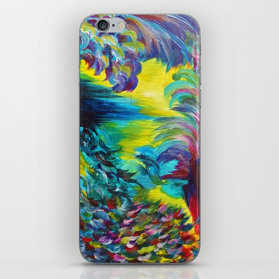 FLIGHT ON TAP - Whimsical Colorful Feathers Fountain Peacock Abstract Acrylic Painting Purple Teal iPhone & iPod Skin