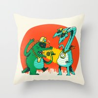 Kaiju Rap Battle Throw Pillow