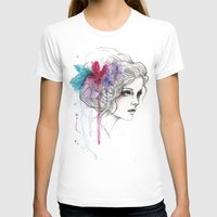 Water Flowers Womens Fitted Tee White SMALL