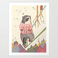 Bear In Bicycle Art Print