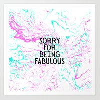 Modern fabulous typography quote pink teal marble Art Print
