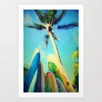 Surfboards And Palms Art Print