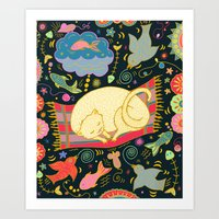 Cat Dreams Art Print