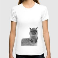 Portrait of Alpaca Womens Fitted Tee White SMALL