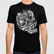 Skull Moustache Mens Fitted Tee Black SMALL