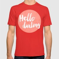 Coral Hello Darling Typo… Mens Fitted Tee Red SMALL