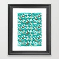 Floral Surfers Framed Art Print