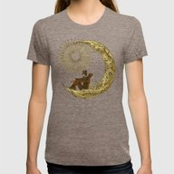 Moon Travel Womens Fitted Tee Tri-Coffee SMALL