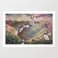 Cliffside Puffins Art Print