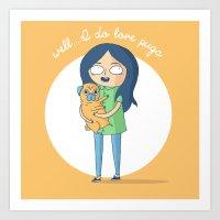 Well...I Do Love Pugs Art Print