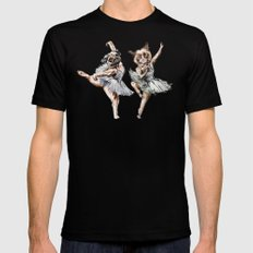 Hipster Ballerinas - Dog Cat Dancers Black SMALL Mens Fitted Tee