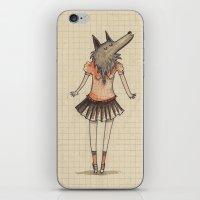 Woman Wolf at school iPhone & iPod Skin