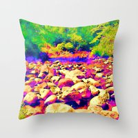 Colorful Rocky Riverbed Throw Pillow
