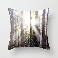 Sunburst Through the Redwoods Throw Pillow