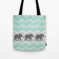 Three Elephants - Teal A… Tote Bag