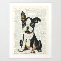Boston Terrier Vintage P… Art Print
