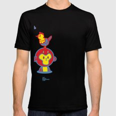 The Monkey and The Rooster  Black Mens Fitted Tee SMALL