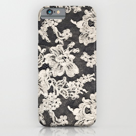 black and white lace- Photograph of vintage lace iPhone & iPod Case
