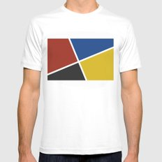 abstract geometry bauhaus background SMALL Mens Fitted Tee White