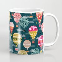 Hot Air Balloons - Retro, Vintage-inspired Print and Pattern by Andrea Lauren Mug