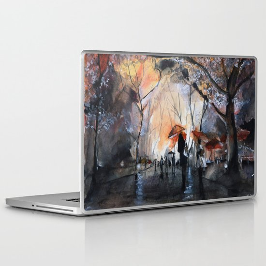 Autumn rain - watercolor Laptop & iPad Skin
