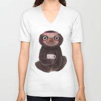 Sloth I♥lazy Unisex V-Neck