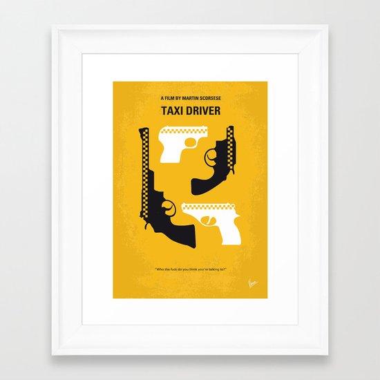 No087 My Taxi Driver minimal movie poster Framed Art Print