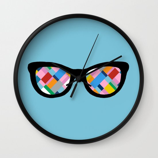Map 45 Glasses on Sky Blue Wall Clock