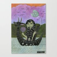 Girl In A Small Creature… Canvas Print