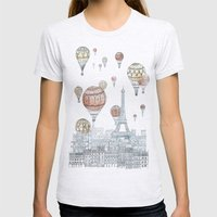 Voyages Over Paris Womens Fitted Tee Ash Grey SMALL