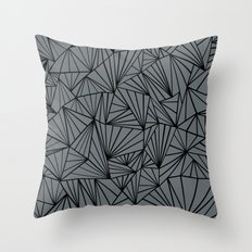 Ab Fan Grey and Black Throw Pillow