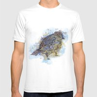 watercolor sparrow Mens Fitted Tee White SMALL