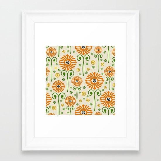 Retro Sunflower Pattern - Susan Weller Framed Art Print