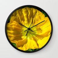 Golden Poppy Wall Clock