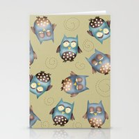 owls Stationery Cards featuring Owls by Catru