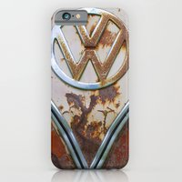 iPhone Cases featuring Rusty VW by KitKatDesigns