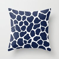 Giraffe Animal : Navy Throw Pillow
